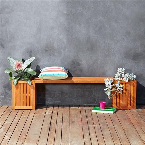 Oasis Bench Seat with Planter Boxes | Kmart $39.00 Made from acacia wood Maximum safe weight 200kg Some assembly required Measuring: 150cm (W) x 40cm (H) x 30cm (D)