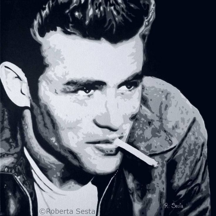 James Dean - Bianco, nero e grigio Acrilico su tela  Roberta Sesta