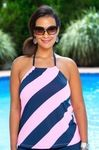 Women's Plus Size Swimwear - Anne Cole Separates Rugby Stripe Tankini Top - NO RETURNS
