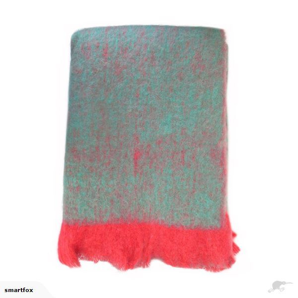 Throw / Blanket - Bliss Mohair Blend TURQUOISE/RED | Trade Me