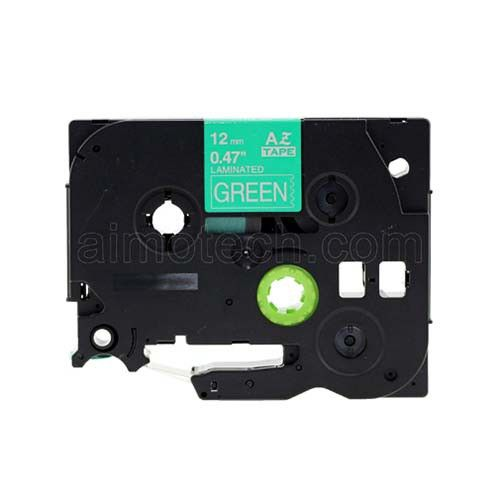 """Brother TZe-735 12mm (0.5"""") White on Green Compatible Label Tape"""