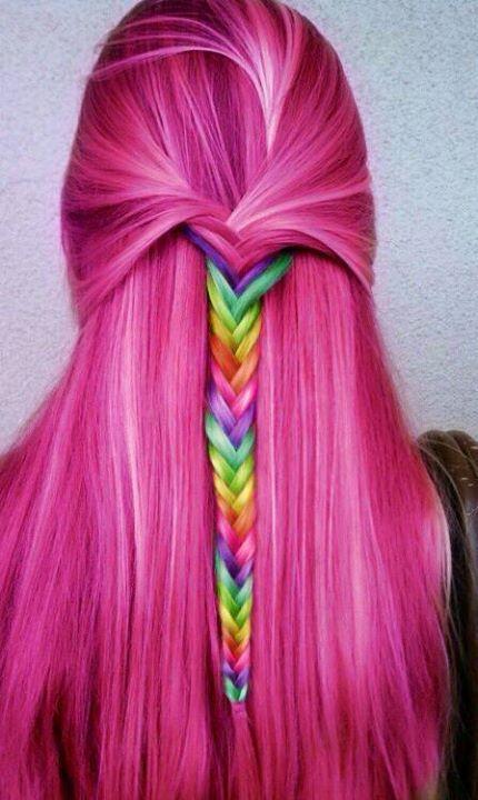 Rainbow Braid   Hair Styles   Pinterest Rainbow Braids