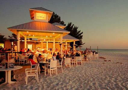 The Sandbar on Anna Maria Island, Florida is the best place to catch a casual lunch while sunbathing on white sand beaches.