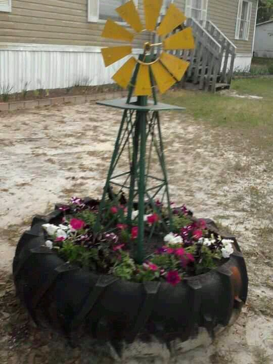 Cute! Old tractor tire