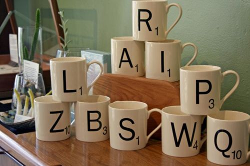 Scrabble mugs. My birthday is soon.... someone get these for me!