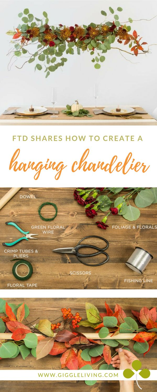 DIY hanging centerpiece/centerpiece ideas/tabletop inspiration/fall centerpiece/FTD blog share