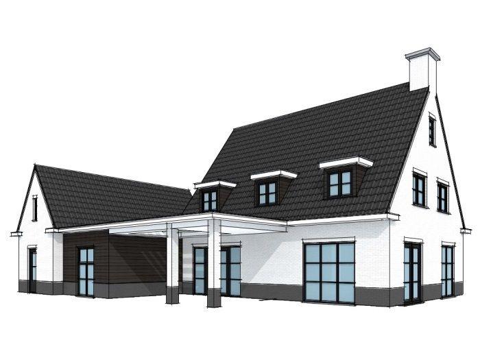 Modern landelijke villa met bijgebouw - 3D (3)