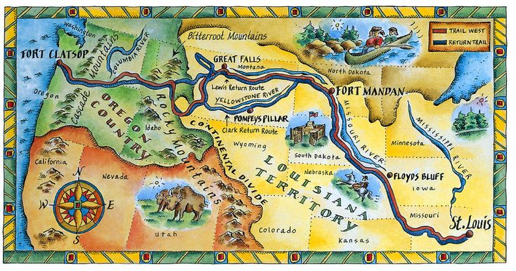 Lewis & Clark Expedition Map Digital Art  - Lewis & Clark Expedition Map Fine Art Print