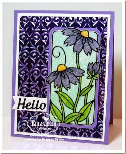 A stunning card created by Frances Byrne from Australia. Frances used the Amethyst Gemstone Shimmer Sheetz to create a gorgeous embossed background. She also used the Flower in Frame Peel-Off stickers colored on top of the Silk Microfine Glitter Cool Diamond. The Hello is a die cut out of Black Velvet Adhesive. Frances always likes to finish of the inside of her cards so make sure to visit her blog for more pictures! http://www.stampowl.blogspot.ca/2014/05/hello.html