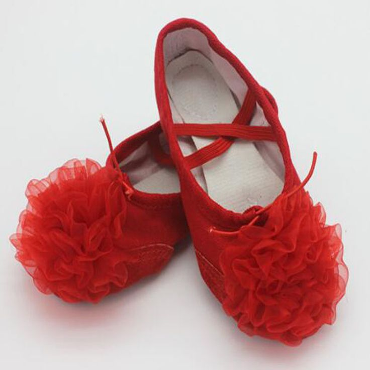 2017 Children Soft Sole Ballet Shoe Girls Ballet Shoes With Flower Women Ballet Dance Shoes for Kids adult Ladies size 23-40