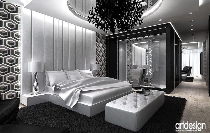 Luksusowe wnętrze domu. Projekt sypialni i łazienki.