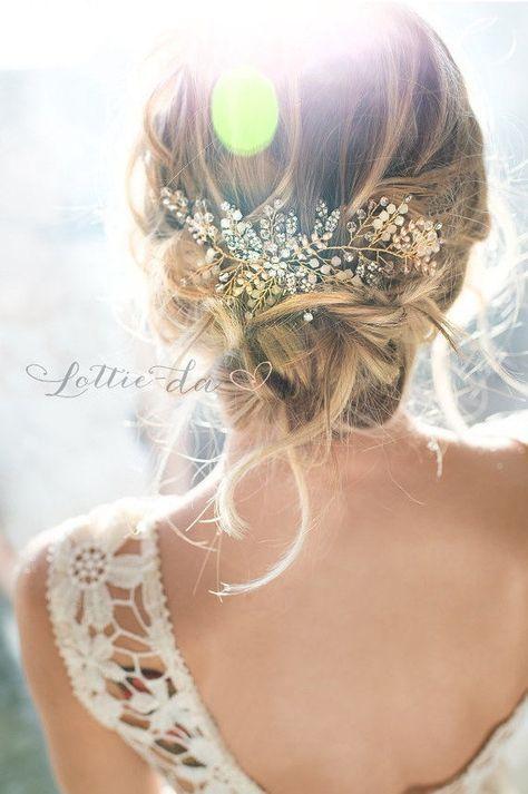 """Gold Bridal Hair Vine Accessory, Boho Beaded Wire Half Halo or Headband, """"Zoya"""""""