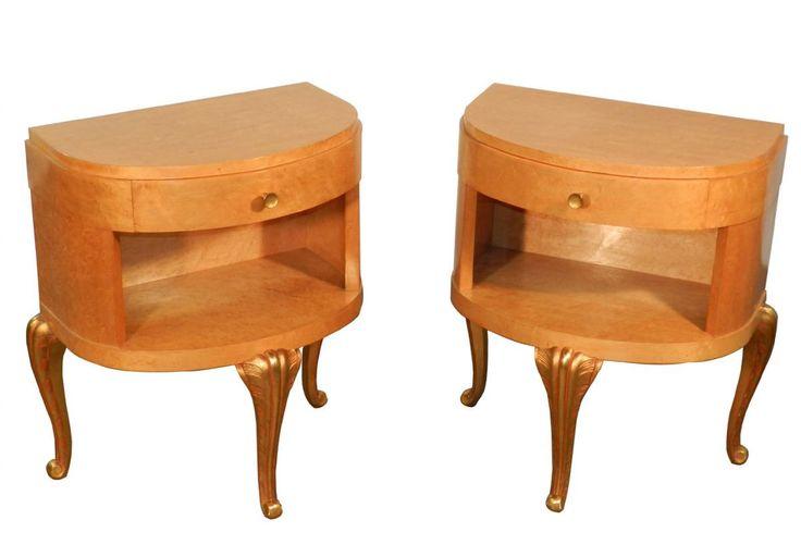 Maison jansen pair of bedside tables in veneer for Antiquaire la maison bananas