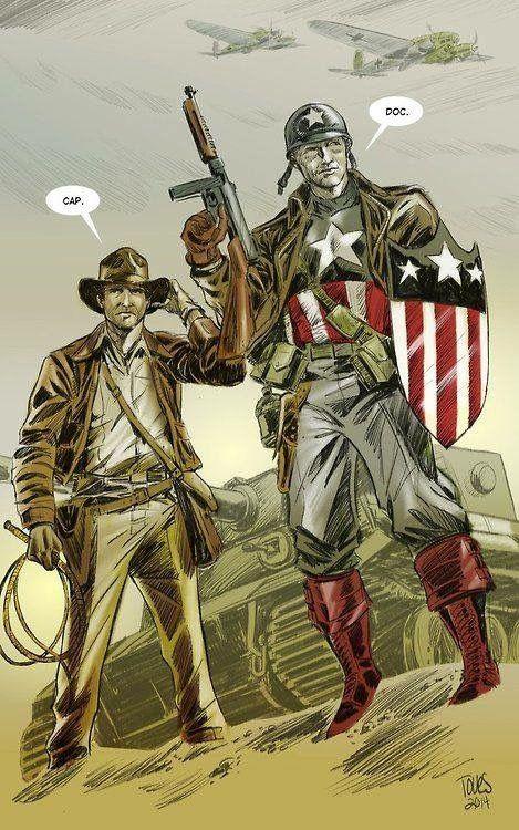 Captain America and Indiana Jones.... Yeeeeesss whoop whoop whoop. This cross over would be perfect