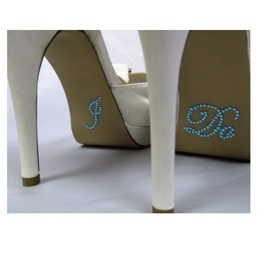I DO  CRYSTAL SHOE STICKERS SOMETHING BLUE HEN PARTY WEDDING ACCESSORIES FAVOUR