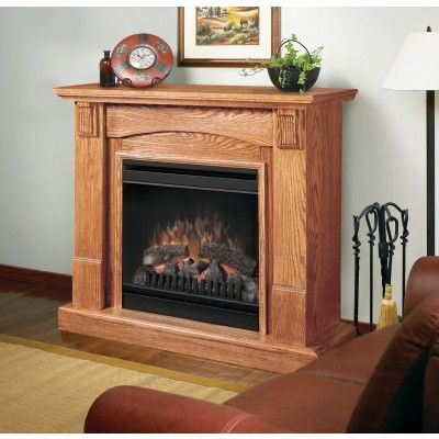 Dimplex Caprice Warm Oak Electric Fireplace Package - A simple transitional design is highlighted by stepped inlay panels, dentil molding and a finely carved mantel.