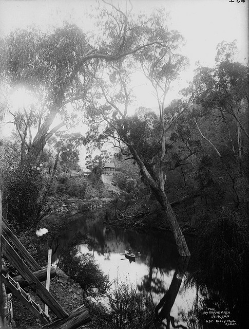 Pool by Grand Arch, Jenolan Caves  (c. 1900), near Oberon in the Blue Mountains world heritage area (NSW, Australia) via Powerhouse Museum (Flickr Commons).