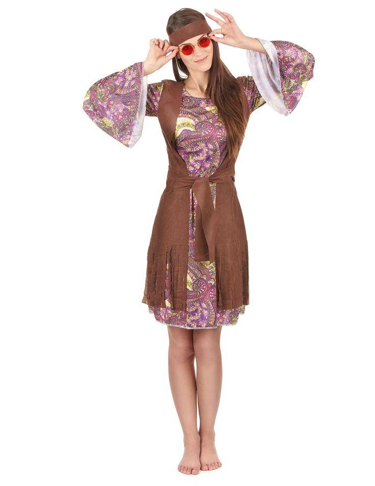 Costume hippie - figlia dei fiori per donna: Questo travestimento da Figlia dei Fiori per adulto comprende un vestito con gilet integrato, una cintura e una fascia per la testa (occhiali non inclusi).Il vestito possiede maniche lunghe e svasate...