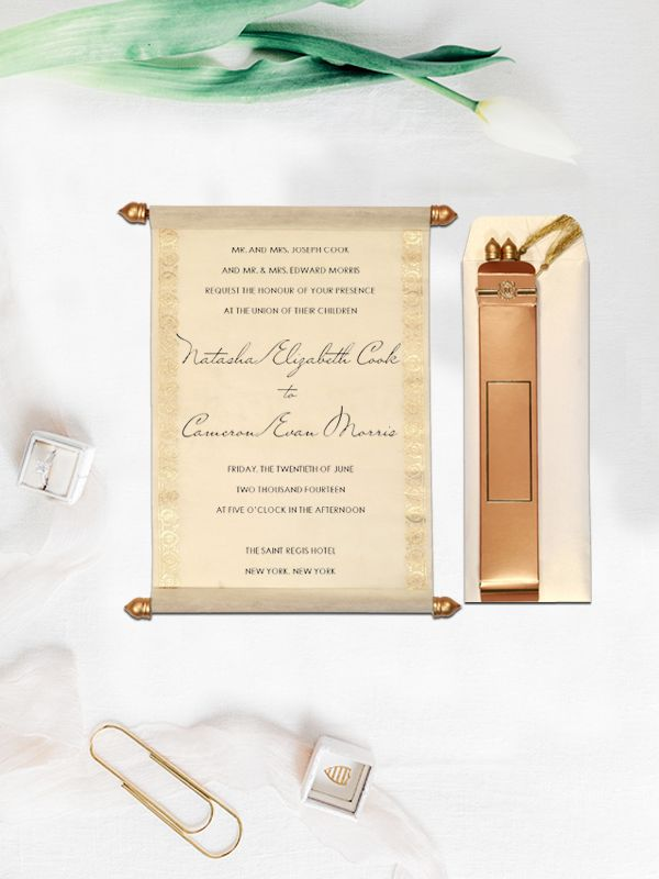 Ivory wooly foil stamped wedding invitation