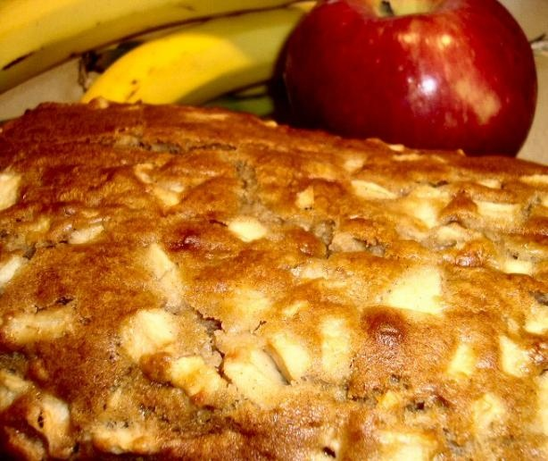 Apple Banana Bread.     1/2 cup butter, softened, 1/2 cup brown sugar, 1/2 cup granulated sugar, 2 eggs, 3 tablespoons sour cream, 1 banana, mashed, 1 teaspoon vanilla, 2 cups flour, 1 teaspoon baking powder, 1 teaspoon baking soda, 1/2 teaspoon cinnamon, 2 apples, cored and chopped, 1/2 cup walnuts, Chopped