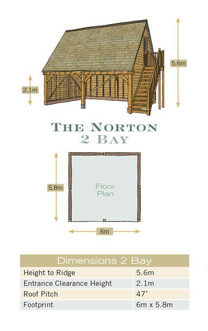 Radnor oak oak framed garage 2 bay floor plan for Garage bay size