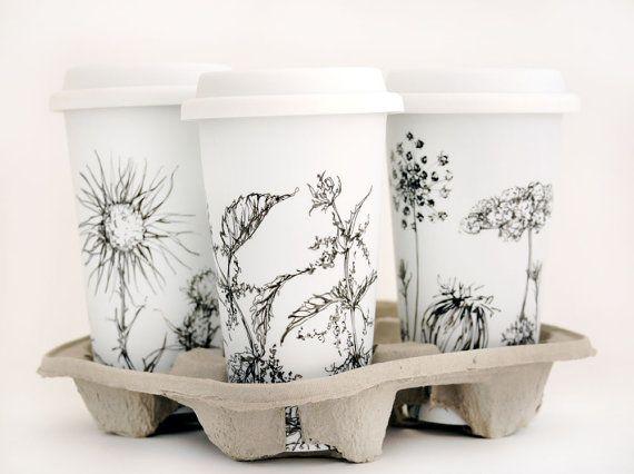 Aangepaste Botanische tekening op witte keramische Eco-Friendly Travel Mug