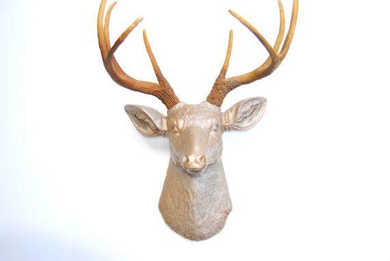 Caramel Latte Faux Deer Head - Metallic Caramel with Natural Brown Antlers - Deer Head Antlers Fake Taxidermy Wall Mount D2500