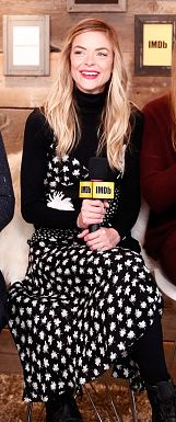 Jamie King wearing our Colorado Body and Individual 100 Leg Support Tights at the Sundance  Film Festival, Jan. 2017