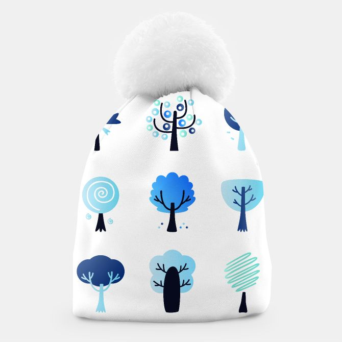 Winter beanie with colorful Blue trees