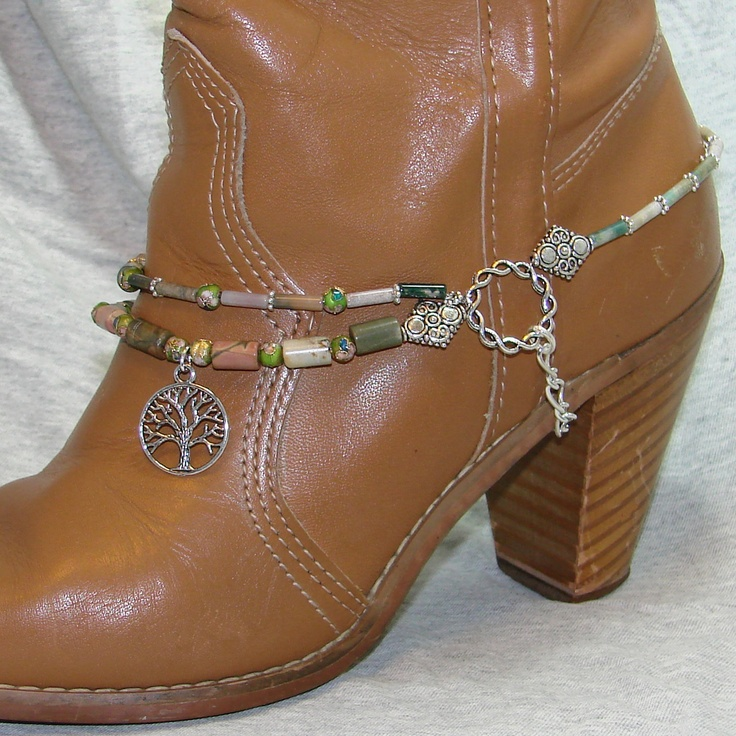 Beaded Boot Bracelet With Natural Jasper Stones, Cloisonne Beads And Silver Tree Of Life Charm. $60.00, via Etsy.