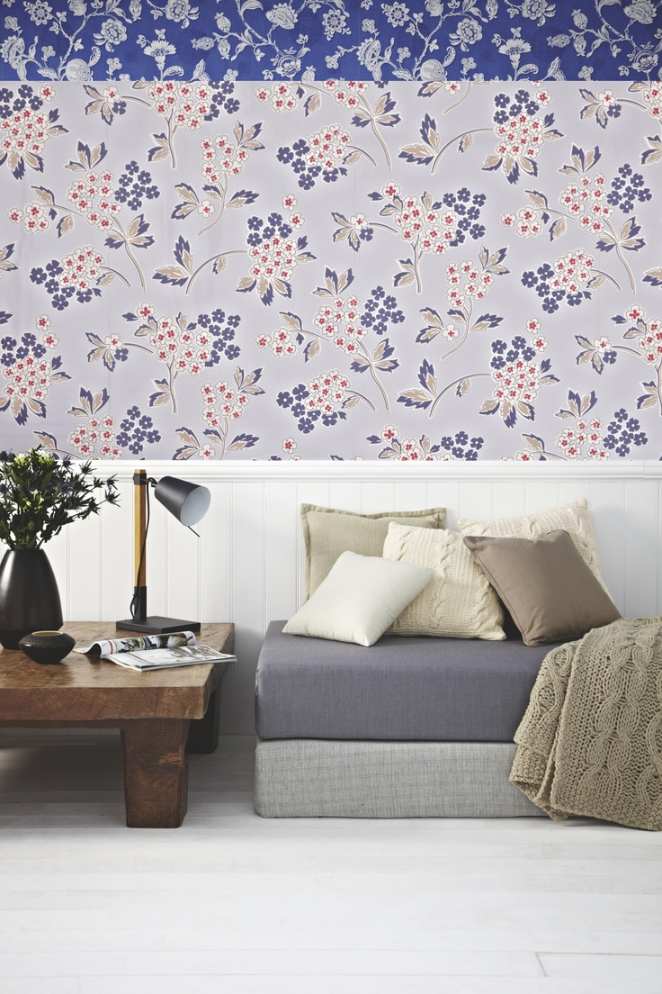 Room with accessories blue floral pattern interior design ideas - We Can T Get Enough Of Red White And Blue This Season Mix Delicate Wall Prints With Chunky Knit Accessories For A Cosy Yet Stylish Feel
