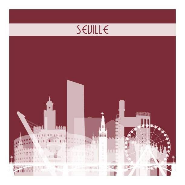 Sevilla, silueta de horizonte transparente blanco sobre fondo rojo oscuro. - ilustración de arte vectorial