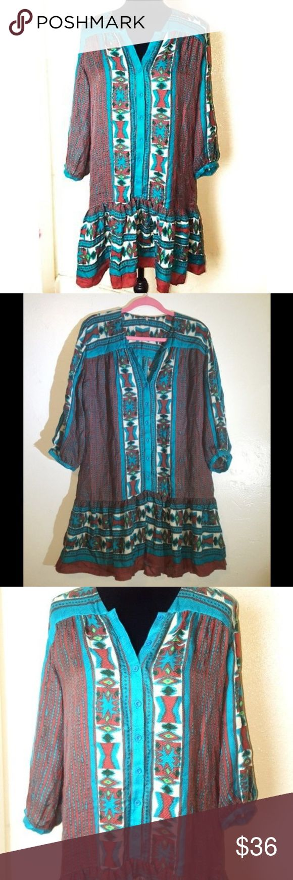 Free People Teal Orange Boho Tribal Festival Dress Sz L Measurements Bust 46 inches Length 37 inches 100% Acrylic Lightweight 3/4 Sleeves Free People Dresses