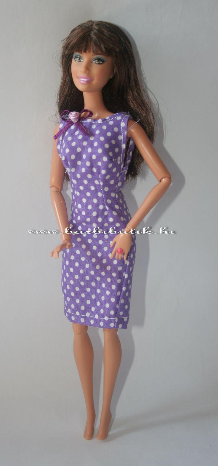 Lila fehér pöttyös szűkített Barbie ruha/ Lila white Barbie dress