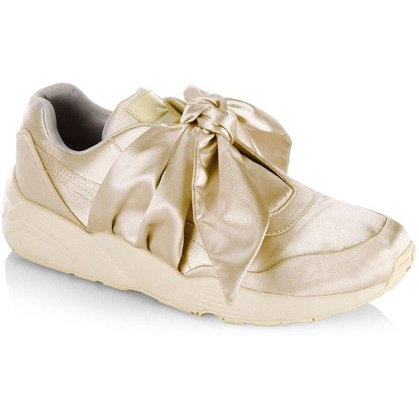 PUMA FENTY Puma x Rihanna Satin Bow Sneakers ($160) ❤ liked on Polyvore featuring shoes, sneakers, satin shoes, round cap, slip-on sneakers, puma shoes and pull on sneakers