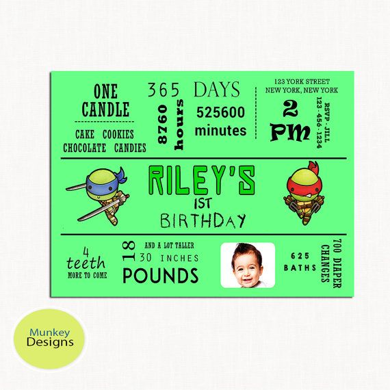 TEENAGE Mutant NINJA Turtle Birthday Invitation by MunkeyDesigns