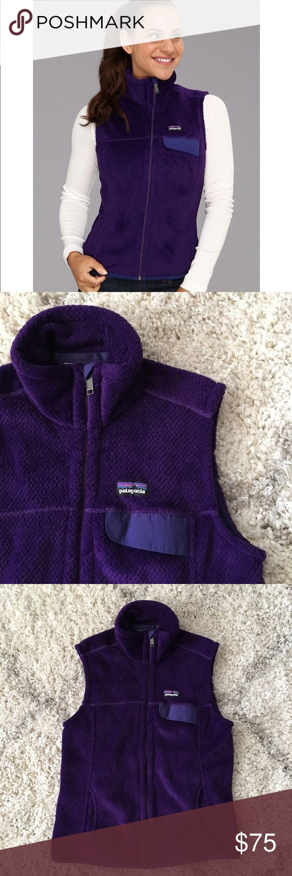 Patagonia Re-Tool Fleece Vest Patagonia Re-Tool Vest in purple.  ·         Full-length zipper with zipper garage ·         On-seam hand warmer pockets ·         Chest pocket with nylon flap  Lightly worn and washed – no stains, holes, or pilling – great, pre-owned condition. Bundle & save 💰! Sorry - 🚫 trades! Patagonia Jackets & Coats Vests