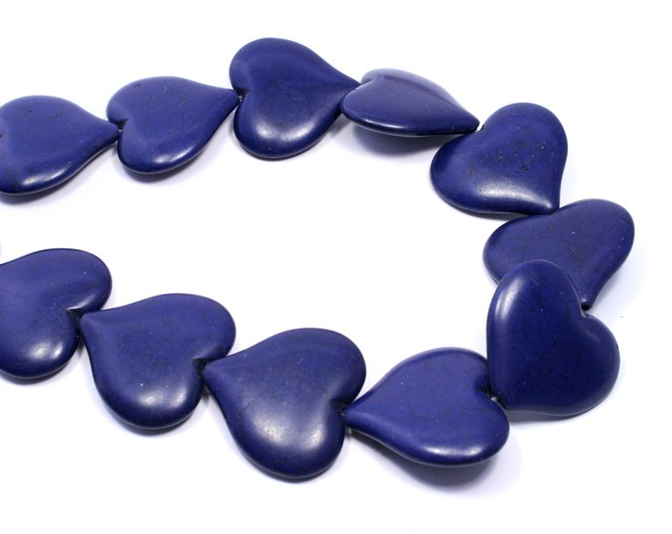 Dark blue howlite hearts #howlite #hearts #beads #blue