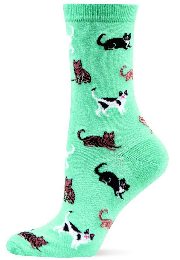 Cats on a minty backdrop are so yummy you'll want to put your foot in mouth. | Community Post: 17 Pairs Of Cat-Themed Socks You Need Right Meow