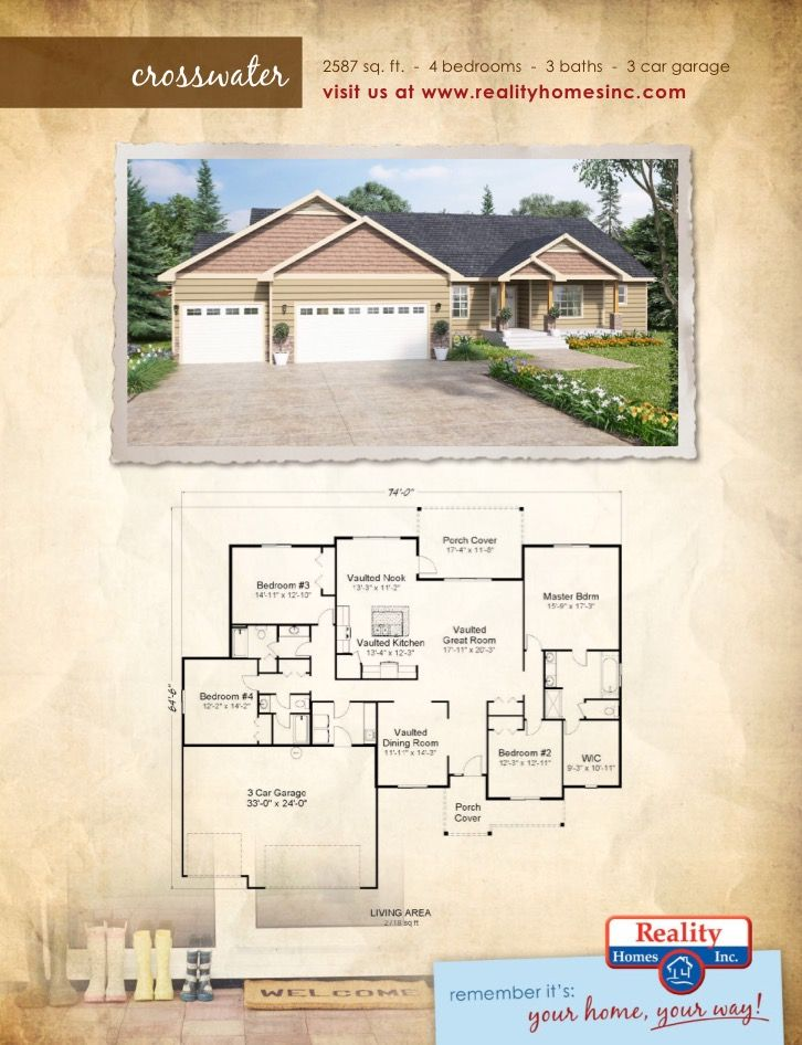 44 best images about single story floor plans on pinterest for 4 car garage square footage