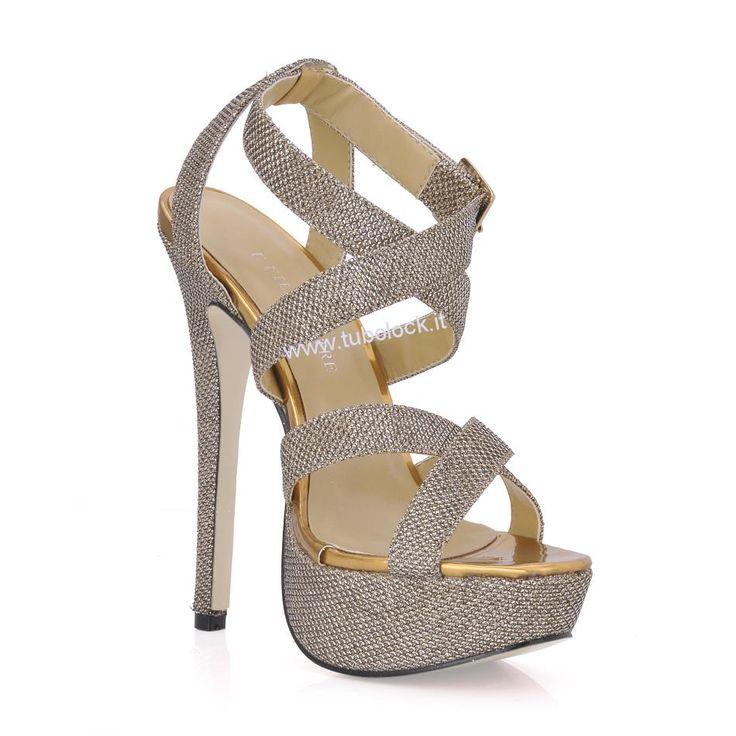 Grandi d\'oro scintillante superiore piattaforma tacchi a spillo peep toe scarpe Prom / sera HC20373