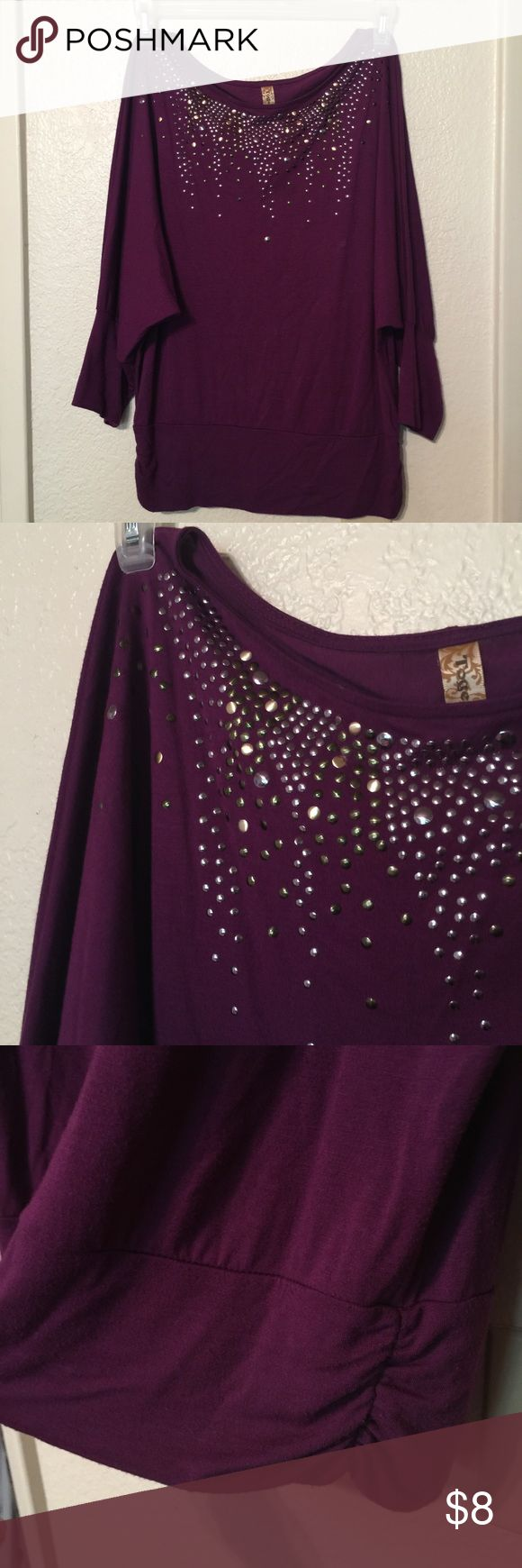 Purple Batwing Top w/ Studs ✨ Silver and gold studs adorn this very flattering top. Scoop neck, batwing arms, and a banded waistband. Perfect for the office or with jeans and boots! Together Tops