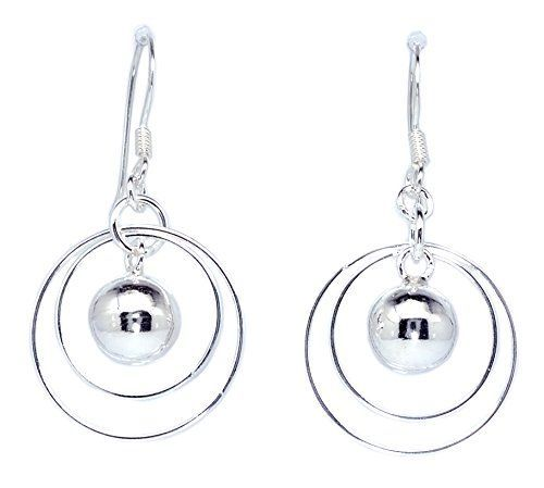 Circle Ring with Drop Shiny Ball Dangle Earrings 925 Ster