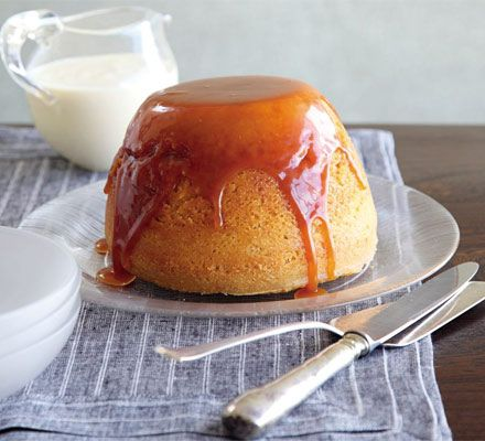 Steamed vanilla sponge with butterscotch sauce & custard.  Finish Sunday lunch with John Torode's indulgent and nostalgic steamed pud.