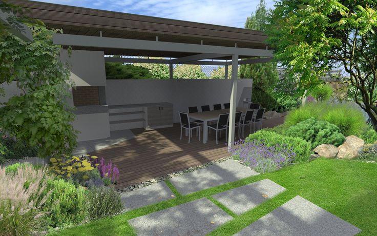 moderní záhradní posezení / modern seating area in garden