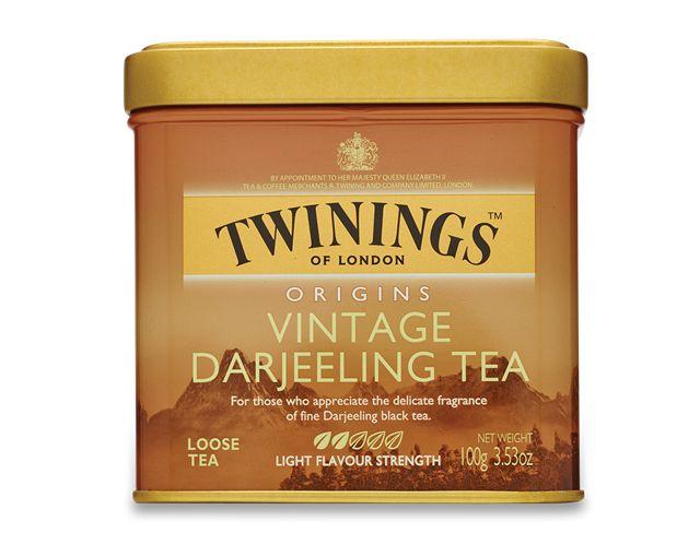 Twinings of London Origins Vintage Darjeeling Tea tin ... Indian mountain scene on square tin with gold friction cap lid, c. 2000s
