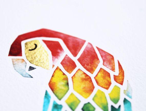 Illustration perroquet à l'aquarelle Artprint avec
