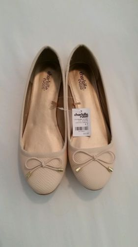 New-Womens-Nude-Charlotte-Russe-Snake-palmer-leather-Ballerina-Flats-Size-7