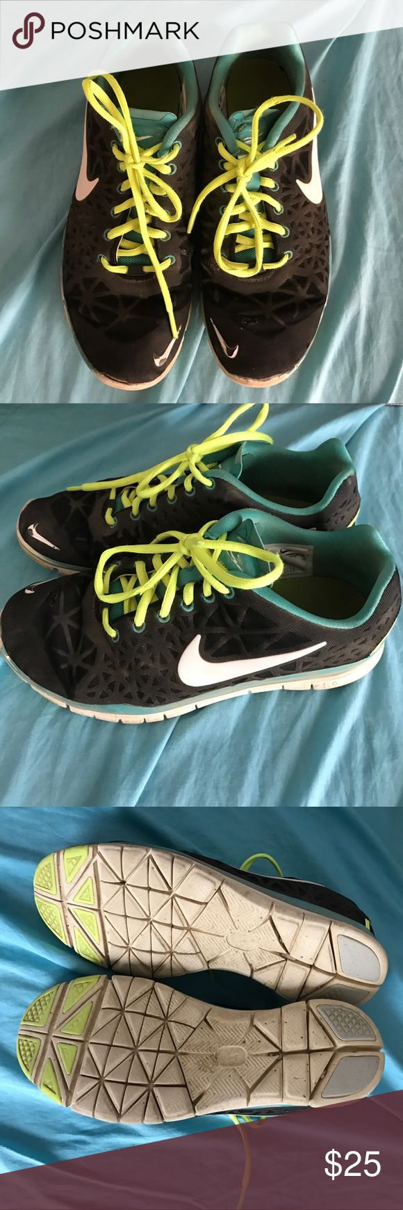 Black & Neon Nike Running Shoes I have wore things a few times outside. I can wash them before sending them out if requested. Nike Shoes Athletic Shoes