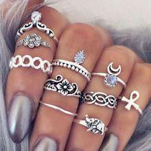 10 unid/set Única Playa Boho Punky Tallada Elefante Luna Dedo Midi anillo del partido de la joyería regalo para las mujeres chica anillo del nudillo G029(China)
